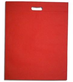 Non Woven draagtas met uitgestanste handgreep formaat 35x45+5cm, red, verpakt per 250 stuks