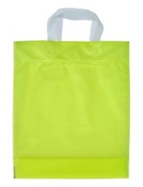 Kunststof draagtas met lus handgreep formaat 30x35+5cm, citroengeel, verpakt per 500 stuks.