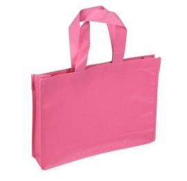 Non Woven draagtas lus handgreep formaat 35+8x25cm, roze, verpakt per 100 stuks