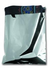 Gemetalliseerde vlakke kadozakken, medium 25x27,5+5 cm, met plakstrip, verpakt per 250 stuks.