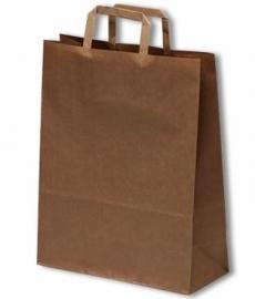 Papieren draagtas met platte handgreep formaat 18x7x25cm, BRUIN, verpakt per 500 stuks.