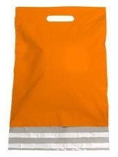 Kunststof draagtas, uitgestanste handgreep incl. plakstrip, formaat 30x40+7cm, oranje, verpakt per 250 stuks.