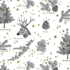 Inpakpapier glanzend K691666/1-50 OH MY DEER WHITE/GOLD
