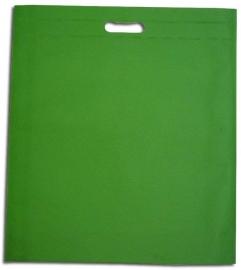 Non Woven draagtas met uitgestanste handgreep formaat 40x45+5cm, applegreen, verpakt per 250 stuks