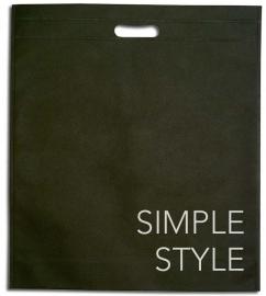 NON Woven draagtas, BEDRUKT MET UW LOGO formaat 35x45+5cm, black. Vanaf 250 stuks.