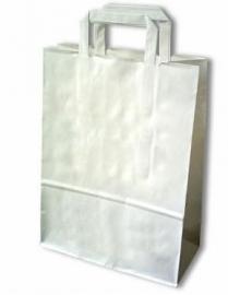 Papieren draagtas met platte handgreep formaat 18x7x25cm, WIT, verpakt per 500 stuks.