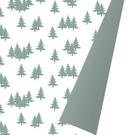 Inpakpapier glanzend K691935/4-50 XMAS TREES GREEN METALLIC GREEN (dubbelzijdig)