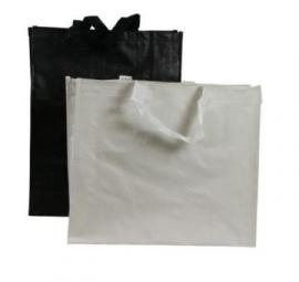 Luxe PP woven draagtas met gestikte handgrepen, formaat 40x20x35cm, in diverse kleuren, verpakt per 100 stuks.