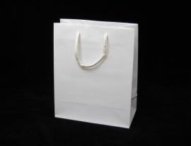 Luxe papieren draagtas glansgelamineerd, formaat 20x10x25cm, WIT, verpakt per 200 stuks