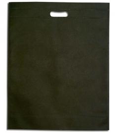 Non Woven draagtas met uitgestanste handgreep formaat 35x45+5cm, black, verpakt per 250 stuks