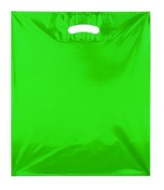 Kunststof draagtas colourline, uitgestanste handgreep formaat 38x45cm, groen, verpakt per 500 stuks.