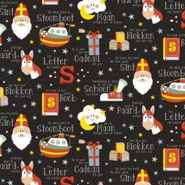 Sinterklaaspapier glanzend 692072-30 Sint lyrics zwart, 125 meter