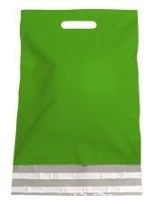 Kunststof draagtas, uitgestanste handgreep incl. plakstrip, formaat 30x40+7cm, groen, verpakt per 250 stuks.