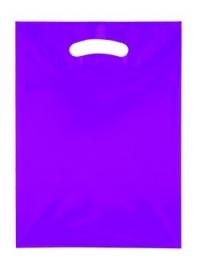 Kunststof draagtas colourline, uitgestanste handgreep formaat 25x33cm, paars, verpakt per 500 stuks.