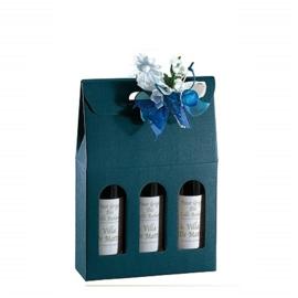 Bottle Box 3-flessen, 27x9x38,5cm, verpakt per 30 stuks (diverse kleuren)