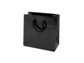 Luxe papieren draagtas glansgelamineerd, formaat 16x8x16cm, ZWART, verpakt per 200 stuks.