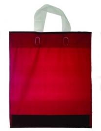 Kunststof draagtas met lus handgreep formaat 30x35+5cm, bordeaux, verpakt per 500 stuks.