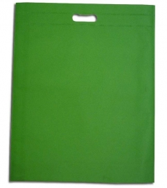 Non Woven draagtas met uitgestanste handgreep formaat 35x45+5cm, applegreen, verpakt per 250 stuks