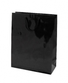 Luxe papieren draagtas glansgelamineerd, formaat 26x12x35cm, ZWART, verpakt per 200 stuks