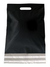 Kunststof draagtas, uitgestanste handgreep incl. plakstrip, formaat 30x40+7cm, zwart, verpakt per 250 stuks.