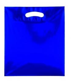 Kunststof draagtas colourline, uitgestanste handgreep formaat 25x33cm, blauw, verpakt per 500 stuks.