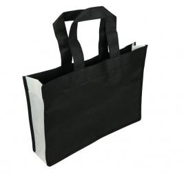 Non Woven draagtas lus handgreep formaat 35+8x25cm, zwart/wit, verpakt per 100 stuks
