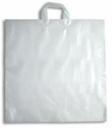 Kunststof draagtas met lus handgreep formaat  45x50+5cm, wit, verpakt per 500 stuks.