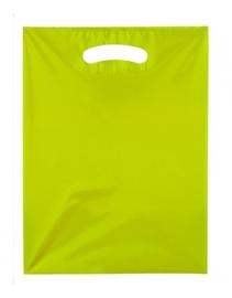Kunststof draagtas colourline, uitgestanste handgreep formaat 25x33cm, geel, verpakt per 500 stuks.