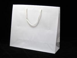 Luxe papieren draagtas glansgelamineerd, formaat 41x14x36cm, WIT, verpakt per 100 stuks