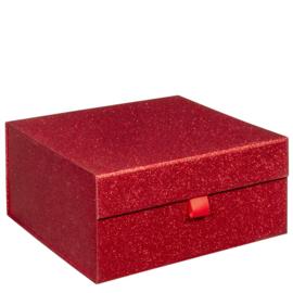 Magneetdoos glitter, 25x25x12cm, verpakt per 20 stuks. ROOD