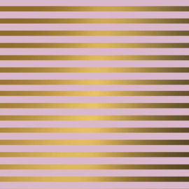 Inpakpapier glanzend 601310/14-50 STRIPES PINK GOLD