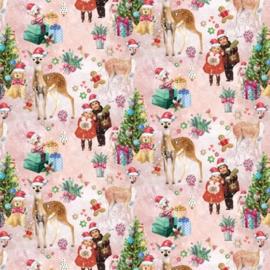 Inpakpapier glanzend K691786-50 CHRISTMAS POETRY PINK
