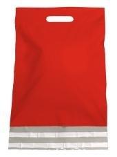Kunststof draagtas, uitgestanste handgreep incl. plakstrip, formaat 30x40+7cm, rood, verpakt per 250 stuks.