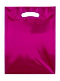 Kunststof draagtas colourline, uitgestanste handgreep formaat 25x33cm, rood, verpakt per 500 stuks.