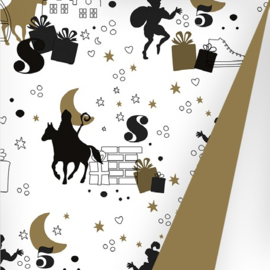 Sinterklaaspapier glanzend 691668/2-30 Op de hoge daken zwart/goud, 125 meter (dubbelzijdig)