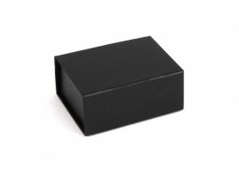 Gift Box DeLuxe; luxe geschenkdoos mat gelamineerd, ZWART 12,5x8,5x3,5cm, verpakt per 50 stuks