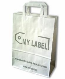 Paper Basic, BEDRUKT MET UW LOGO formaat 18+7x25cm, wit of bruin. Vanaf 500 stuks