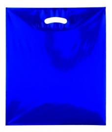 Kunststof draagtas colourline, uitgestanste handgreep formaat 38x45cm, blauw, verpakt per 500 stuks.