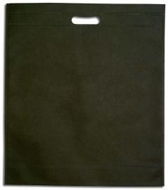 Non Woven draagtas met uitgestanste handgreep formaat 40x45+5cm, black, verpakt per 250 stuks