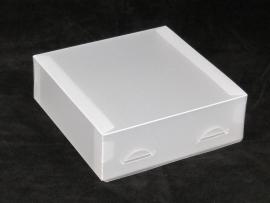 Gift Box medium 15x5x15cm WHITE FROSTED, verpakt per 100 stuks.