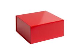 Magneetdoos glans gelamineerd, 22,5x23x11cm, verpakt per 25 stuks. Rood, zilver of goud.