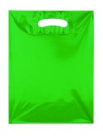 Kunststof draagtas colourline, uitgestanste handgreep formaat 25x33cm, groen, verpakt per 500 stuks.