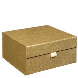 Magneetdoos glitter, 25x25x12cm, verpakt per 20 stuks. GOUD