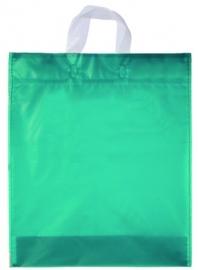 Kunststof draagtas met lus handgreep formaat 38x45+5cm, aquamarijn, verpakt per 500 stuks.