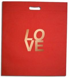 NON Woven draagtas, BEDRUKT MET UW LOGO formaat 35x45+5cm, red. Vanaf 250 stuks.