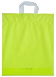 Kunststof draagtas met lus handgreep formaat 38x45+5cm, citroengeel, verpakt per 500 stuks.