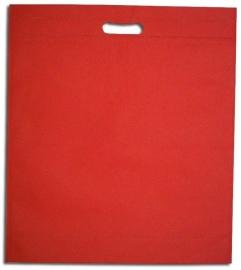 Non Woven draagtas met uitgestanste handgreep formaat 40x45+5cm, red, verpakt per 250 stuks