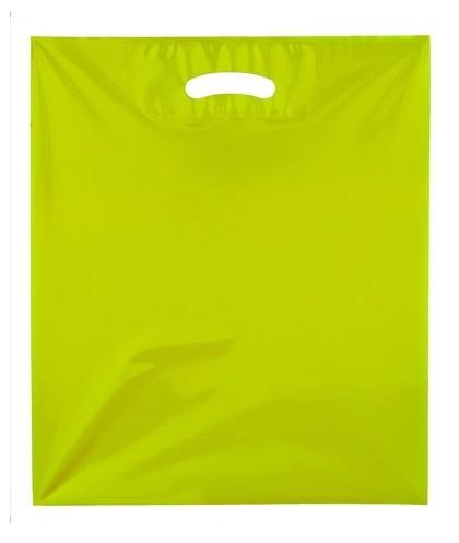 Kunststof draagtas colourline, uitgestanste handgreep formaat 38x45cm, geel, verpakt per 500 stuks.