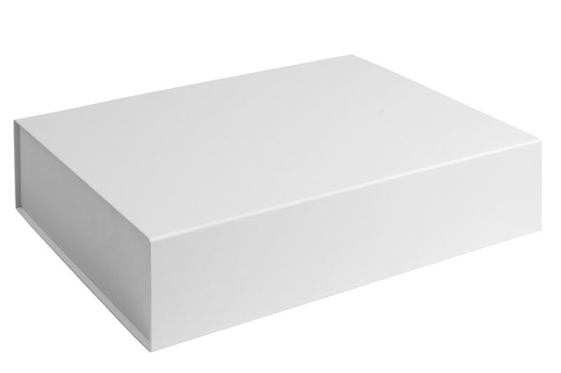 Magneetdoos ongelamineerd, 42,5x33,3x9,7cm, verpakt per 25 stuks. Wit, bruin of zwart.