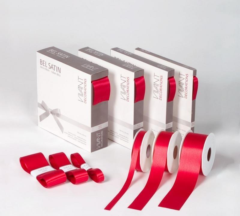 Satijnlint, BEL SATIN, lintbreedte 25mm, verpakt per rol, diverse kleuren leverbaar.